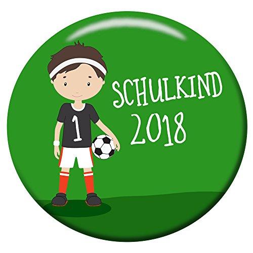 Polarkind Button Pin Anstecker Fussball Schulkind 2018 Geschenk Zum Schulanfang Fußball Junge 38mm Handmade