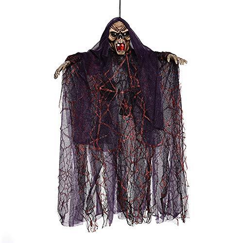 Gespenst Hängend Halloween Dekoration, Skelett Kopf Hexe Halloween-Hängedeko Augen Glänzend für Party Deko Spukhaus - Lila