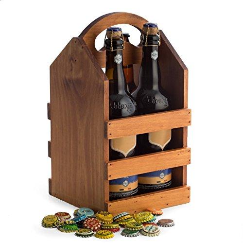Hipster braun massiv Holz Vier Flaschenhalter IPA Craft Bier Caddy Carrier -