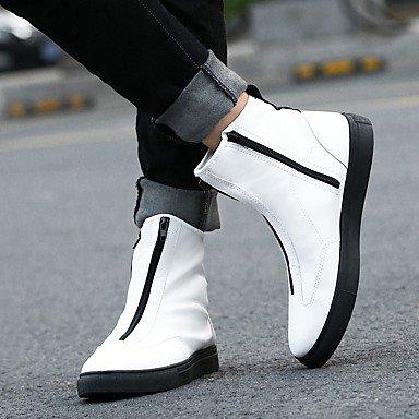 Aiurbag Pour Les Hommes-bottines-casual-confortable-flat-pu (polyuréthane) -noir Blanc Doré Blanc