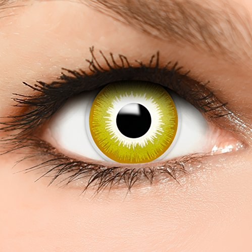 Lentillas de color amarillo + recipiente - Pack de 2