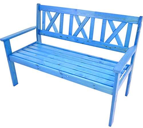 habeig Gartenbank Bank Parkbank Sitzbank Kiefernholz 129 cm - 3 Sitzer Gartenstuhl Neu (Blau)