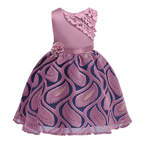 önheit Kleid Blume Baby Prinzessin Brautjungfer Kleid Geburtstagsfeier Hochzeitskleid(Lila,120) ()