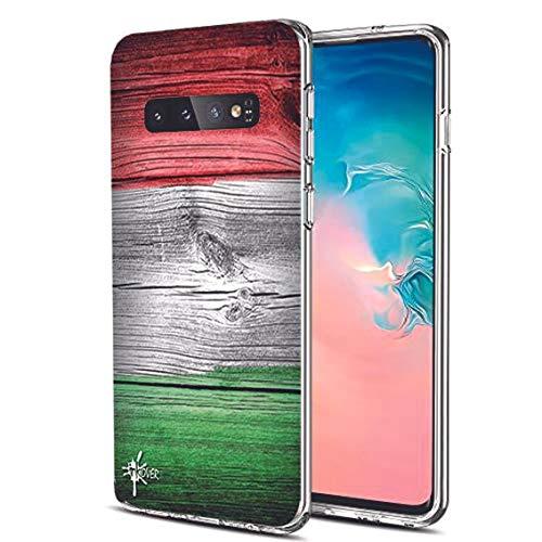 INKOVER Cover per Samsung Galaxy S10 Custodia in TPU Trasparente Opaca Protettiva Guscio Sottile Slim Fit Morbida Design Bandiera Italia Italiana Effetto Legno