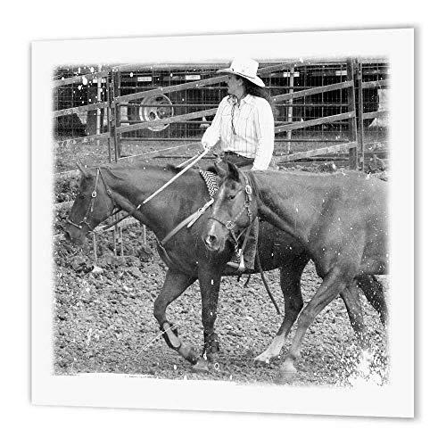 3dRose Cowgirl Rodeo Up Schwarz und Weiß Grunge Eisen auf Wärmeübertragung für weiß Material, 8by 20,3cm (Cowgirl T-shirts Up)