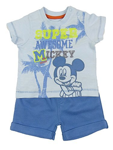 ex-store BABY JUNGEN MICKEY MOUSE Shorts T-Shirt Outfit Spaß Sommer-Set Qualität - Blau, 62-68
