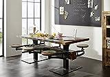 Table à manger 180x90cm - Tabourets inclus - Fer et bois massif recyclé laqué (multicolore) - INDUSTRIAL #62
