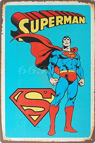 Superman (blue), Blechschild, Weinlese Wandverzierung