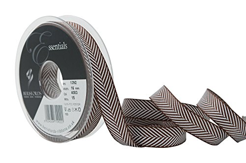 Berisfords 16 mm Polyester Herringbone gewebtes Band, Braun (Herringbone-band)
