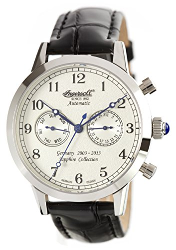 £295.24 Best Ingersoll Men's Automatic Watch with White Dial Chronograph Display and Black Leather Strap IN4410WH