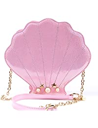 Kuang Women Novelty Laser Shell Shape Cross-body Shoulder Bags Pearl Chain Evening Purse
