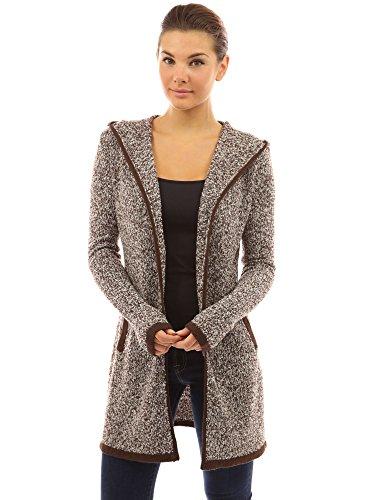 PattyBoutik Damen Strickjacke mit Kapuze Tasche und langen Armen (braun und weiß 36/S)
