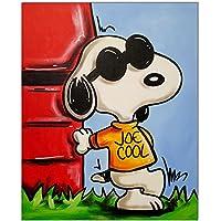 Peanuts Snoopy vs Red Baron II Original Gem/älde Acrylfarben auf Leinwand und Keilrahmen 40x50 cm