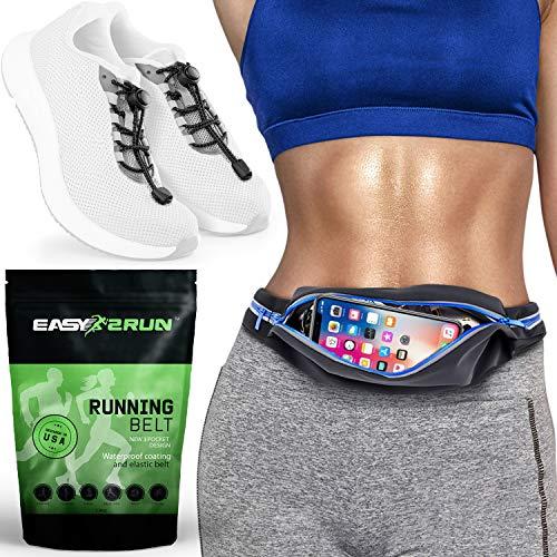 Laufgürtel - 3 Taschen Hüfttasche und reflektierende Schnürsenkel - Läufer Kit - Wasserdichte Fanny Pack für Damen und Herren - iPhone X XS XR 6 7 8 Plus - Fitness Training Set - elastischer Gürtel