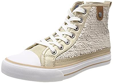 Fritzi aus Preußen Damen Hanna Toe Cap Sneaker Sequin Hohe, Beige (Offwhite), 41 EU