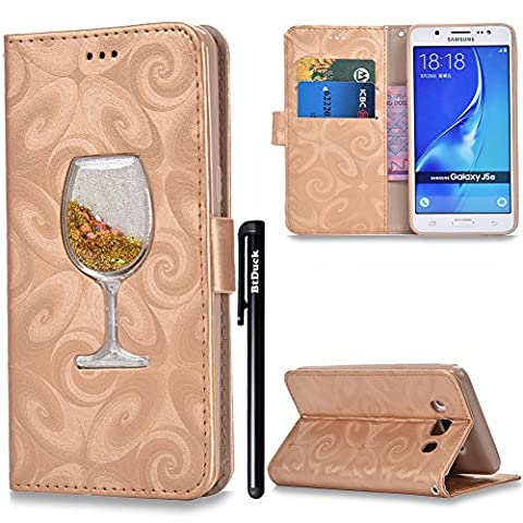 BtDuck Leather Case for Lady Girl Samsung Galaxy J5 2016 Fluorescent Gold Glitter Cocktail Champagne Liquid Shell Red Wine Glass Bling Bling PU Stand Pattern Phone Protector women PU Leather Flip Folio Cover Anti-slip Skin Outdoor Protection Simple Strict Shockproof Heavy Duty Robust Bumper Case Shell with Stander Oyster Card ( Travel Card Bus Pass ) Holder Slots Pocket Kickstand Function Magnetic Closure + 1 * Black Stylus Pen
