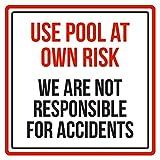 Aersing Home Decor Sign use piscina a proprio rischio non siamo responsabili per incidenti spa attenzione in metallo per esterni interni, montaggio facile