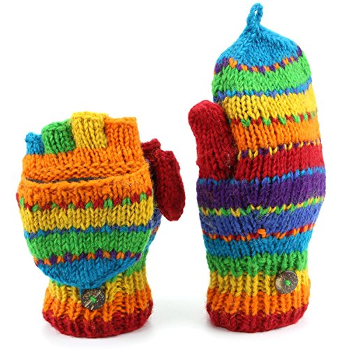 LoudElephant Wool Knit Fingerless Shooter Gloves with Full Fleece Lining - Stripey