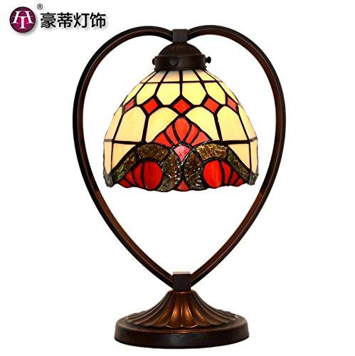 Thorecrdh European American simple lampe LED lampe de chevet chambre à coucher romantique créative du verre décoratif Baroque,interrupteur à bouton,Vent