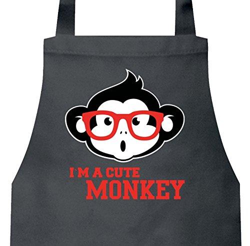 ecue Baumwoll Grillschürze Kochschürze Cute Monkey, Größe: onesize,Dark Grey (Niedliche Nerds)