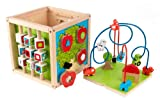 KidKraft 63243 Wooden Bead Maze Cube Toy to Learn About Colors, Shapes, Letters and Numbers (for Babies Kids and Children), Multi