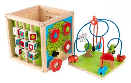 KidKraft 63243 Motorikschleife Perlenlabyrinth-Würfel aus Holz - Kugelbahn Spielzeug für Babys, Kinder und Kleinkinder - Farben, Formen, Buchstaben und Nummern