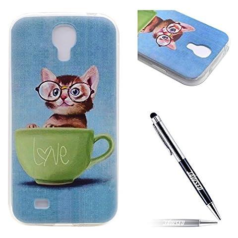 Galaxy S4 Hülle,Samsung Galaxy S4 Silicone Schutzhülle,JAWSEU Niedlich Katze Tasse