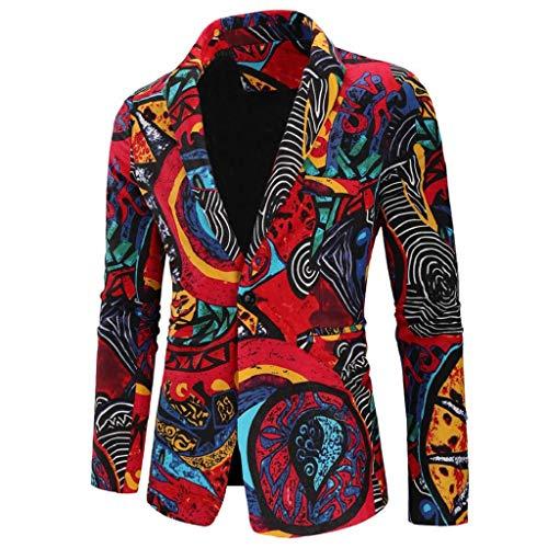 QUICKLYLY Trajes Hombre Chaquetas Charm Encanto Casual Un Botón Apto Fit Suit Traje Blazer Abrigo Tops Fiesta Lentejuelas Chaqueta Esmoquin Estampada Manga Larga Cardigan(Multicolor,L)