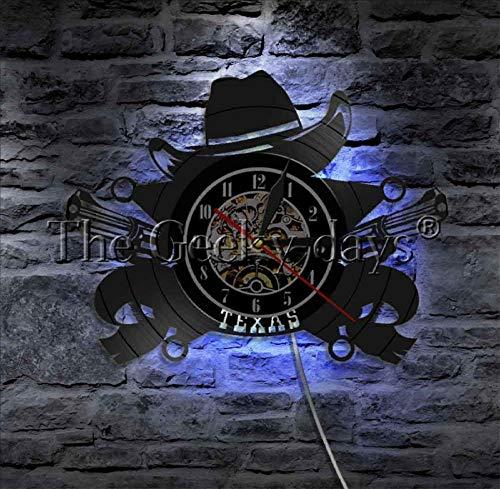 TPFEI 1 Stück Cowboy Wanduhr Kreuz Revolver Schallplatte Uhr Bar Logo Farbwechsel Wandleuchte (1. Geburtstag Cowboy-thema)