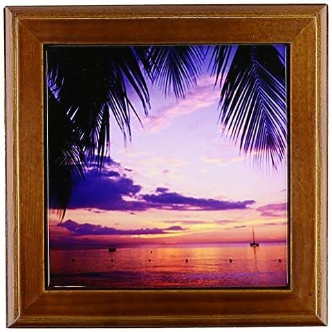 3dRose ft_72733_1 Sunset on The Beach, Negril, Jamaica, CaribbeanCA22 GJO0020 Greg Johnston Framed Tile, 8 by