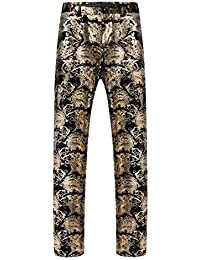 G WELL Herren Hose Jacquard Bronzing Anzughose mit Verstellbarer Taille Große Größen für Party Bühne Gold