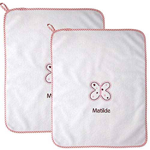 Coccole- set due asciugamani con asola scuola materna e asilo nido 3mesi -5 anni - con nome personalizzato (rosa)