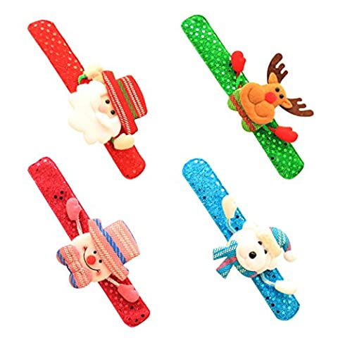 Weihnachten Armband, Outgeek 4 pcs Kinder Bändchen Kreative Licht Glühenden Schneemann Bär Elk Santa (Weihnachten Sankt Bären)