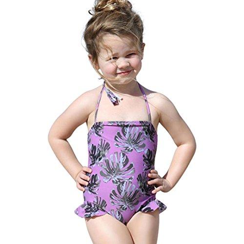 Prevently Bademode für Mädchen Falten Saum Blatt Druck Hosenträger Bikini Badeanzug Kleinkind-Baby-Rüschen-Badebekleidungs-Bügel-Badeanzug-Druck, der Strand-Kleidung badet (Lila, 6-12 monate/90)