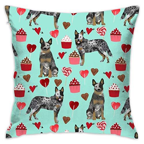 Fun Life Art Australian Cattle Dog Blue Mantel Valentines Love Hearts Hund Kissenbezug 18