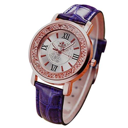 PLOT Damen Quarzuhr Mit Lederarmband   Uhren Mit Bohrer   Armbanduhren Für Frauen   Geschenke Für Frauen   Einstellbar Uhrenband   Quarzwerk   36mm Gehäusedurchmesser (Lila)