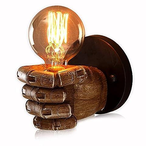 Braun Retro Harz Material Faust Wandleuchte Kreative Industrie Vintage Wandlampe