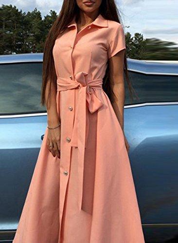 Azbro Women's Short Sleeve Split Mid Shirt Dress with Belt Pink