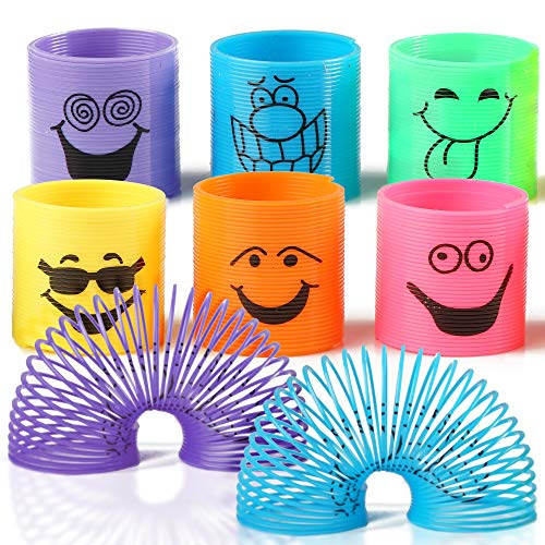 96 Mini Smiley Primavere Arcobaleno in Colori Assortiti - Slinkys Ideali Per Omaggi Di Feste, Favori Di Giocattoli, Sacchetti Per Compleanni E Natalizi E Riempitivi Di Calze, Premi Di Classe