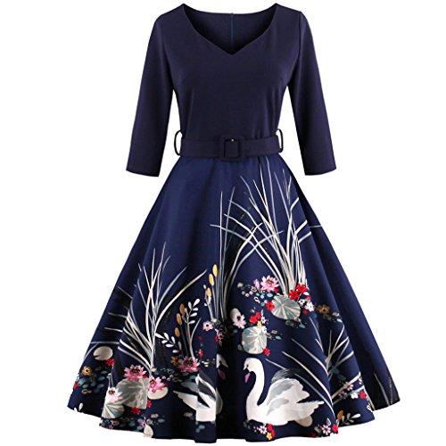 Gedruckt V-ausschnitt Kleid (FAIRY COUPLE 50er Jahren Retro 3/4 Ärmel V-Ausschnitt A-Linie gedruckt dehnbar Kleid mit Gürtel DRT005(4XL,Marineblau))