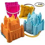 ToyZe® Cubos del cubo del castillo de la arena, cubos de la playa, cubos del molde de la arena, paquete de 8 pulgadas de 4