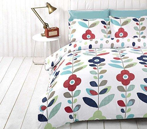 hell Blumenmuster oval gepunktet Blaue Baumwolle Mischung einzeln (uni Entenei blau passendes Leintuch - 91 x 191cm + 25) 3 Stück Bettwäsche Set