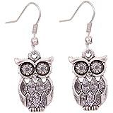 Yazilind Tibetan Silver Antique Latticed Pattern Owl Ear Wire Hook Dangle Earrings