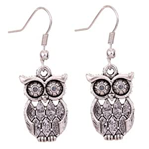 Yazilind Tibetan Silver Antique Latticed Pattern Owl Ear Wire Hook Dangle Earrings