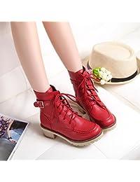 &ZHOU Botas otoño y del invierno botas cortas mujeres adultas 'Martin botas botas Knight A4-7 , red , 36