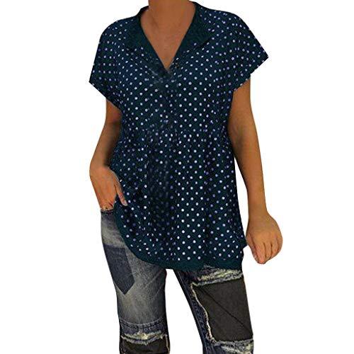 IMJONO T Shirt Teenager mädchen Sommer, 2019 Damen Casual V-Ausschnitt Kurzarm Dot-Intarsia Print Shirts Soild Top Vest Bluse(Medium,Marine)
