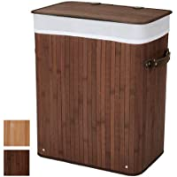 Jago Cesto para Ropa Sucia de bambú Colada Cubo para Ropa Sucia 85 l (65 x 42 x 31 cm) - Marrón Oscuro