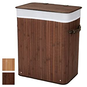 Jago Wäschekorb in Bambusoptik Wäschesammler Ecking Farb- und Größenwahl (52L)