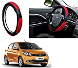 #3: Auto Pearl - Adinox Premium Quality Ring Type Car Steering Wheel Cover (Ultimate Black Red) For -Tata Tiago