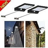 Lámpara LED [2 Packs] Aplique 36 LED de Pared con Panel Solar, Luz Solar de Exterior con Sensor de Movimiento, Impermeabilidad y Refractario para Jartín, Patio, Camino de Entrada, Escaleras